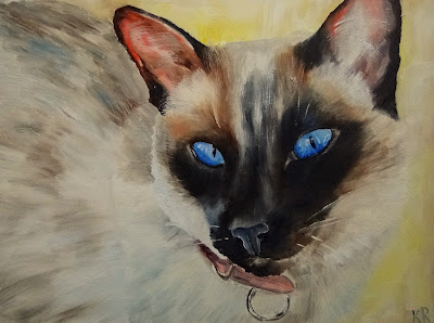 oil painting of a siamese cat, a pet portrait by animal artist Karen Robinson