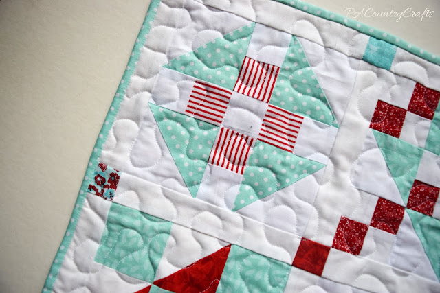 Red and Aqua Sampler Doll Quilts- Churn Dash Block