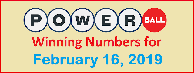 PowerBall Winning Numbers for Saturday, 16 February 2019