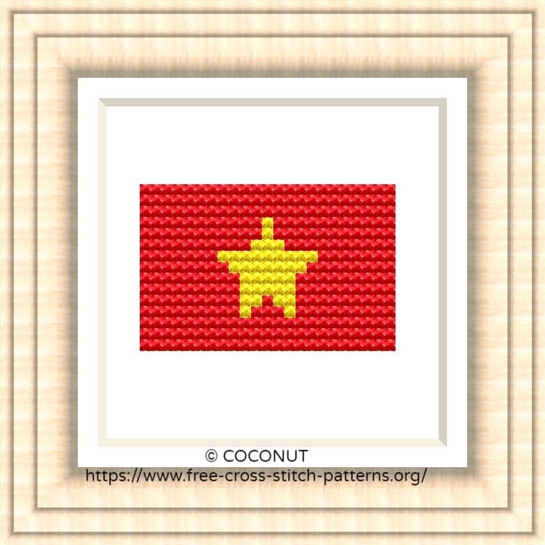 NATIONAL FLAG OF VIETNAM CROSS STITCH CHART