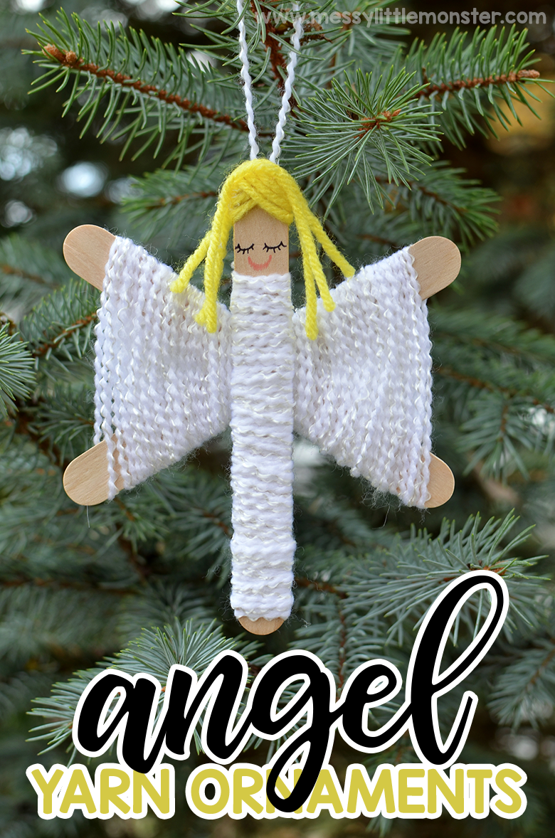 Homemade yarn angel ornaments. Yarn christmas ornaments kids can make. Christmas crafts for kids.