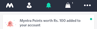 Myntra free Rs.100 credits proof