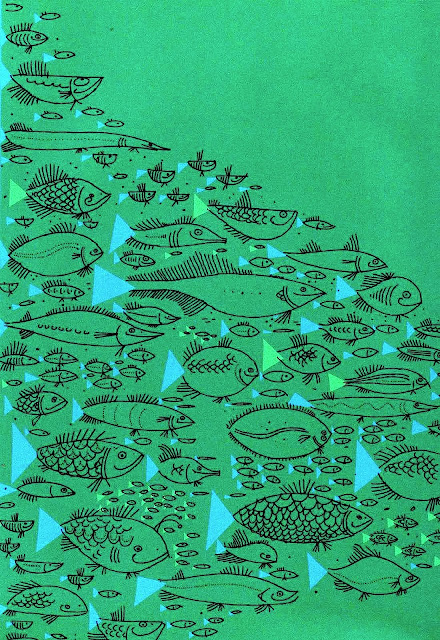 An Ed Emberley children's illustration of a school of fish, 1961