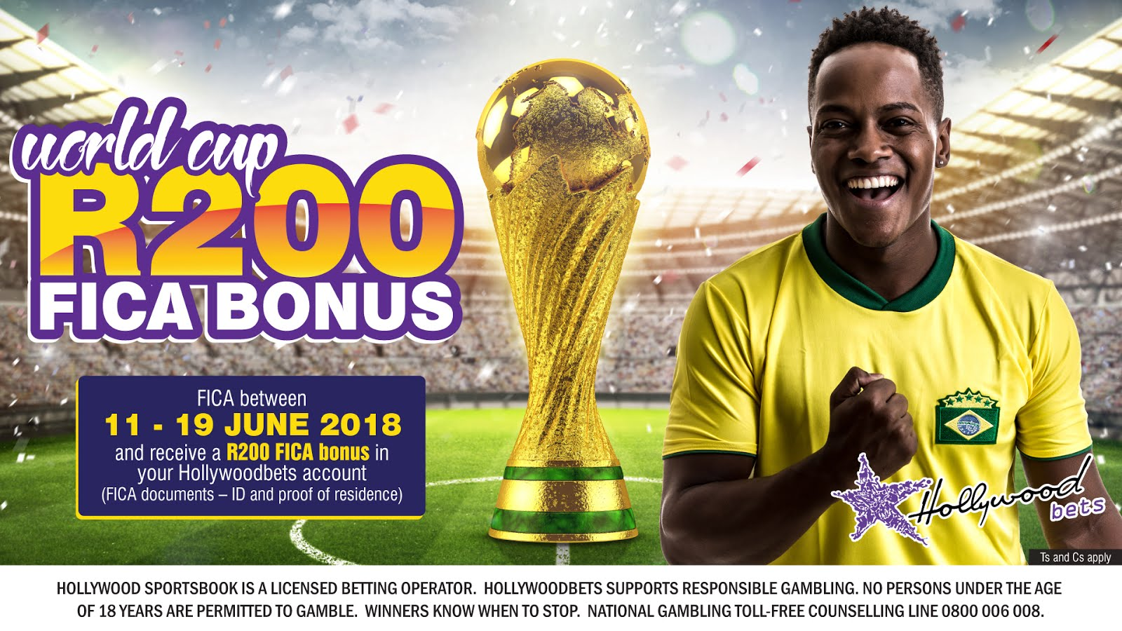 World Cup R200 FICA Bonus - Hollywoodbets