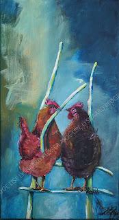 kunst,glade farver,maleri, abstrakt, figurativt,høns, hen, together, art, galleri, ayoe,ladder,
