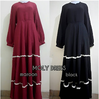 MOLL DRESS Maroon & Balck