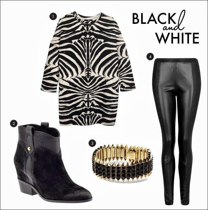 booties, leather leggings, leather pants, sweatshirt, zebra sweatshirt, h&m, mango, piperlime, house of harlow