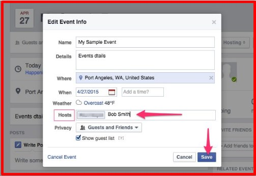 how to make someone a host on facebook event app