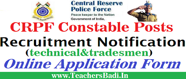 CRPF,Constables Recruitment,Online Application Form