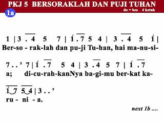 Lirik dan Not PKJ 5 Bersoraklah Dan Puji Tuhan