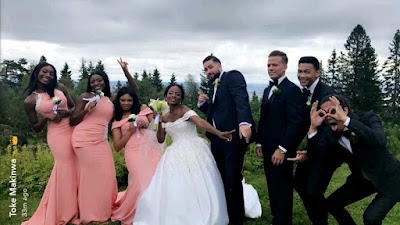 See The Faces Of Toke Makinwa's Sister & Her Oyinbo Hubby At Their Wedding In Norway