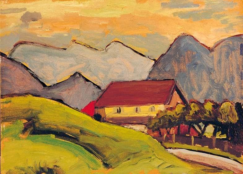 pintura de casa com paisagem