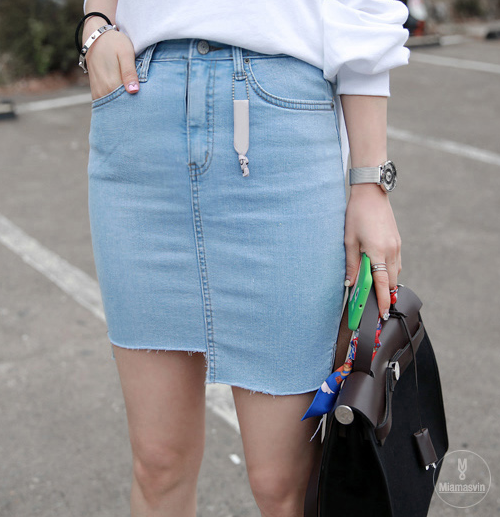 Denim Asymmetrical Hem Mini Skirt