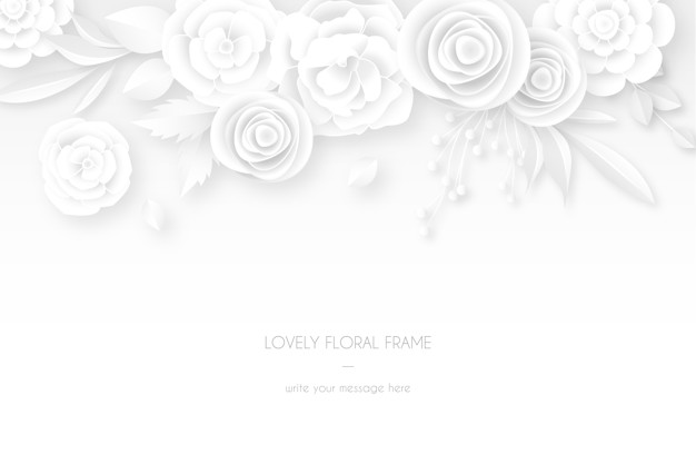 Elegant white card with white floral decoration Free Vector