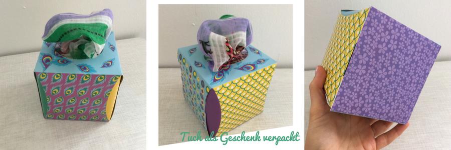 Kosmetiktücher von dm als Verpackung für ein Tuch oder Schal