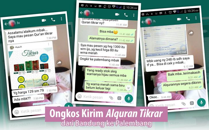 Ongkos Kirim Alquran Tikrar dari Bandung ke Palembang