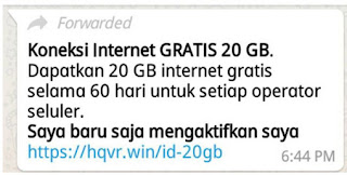 Internet Gratis 20gb di WhatsApp