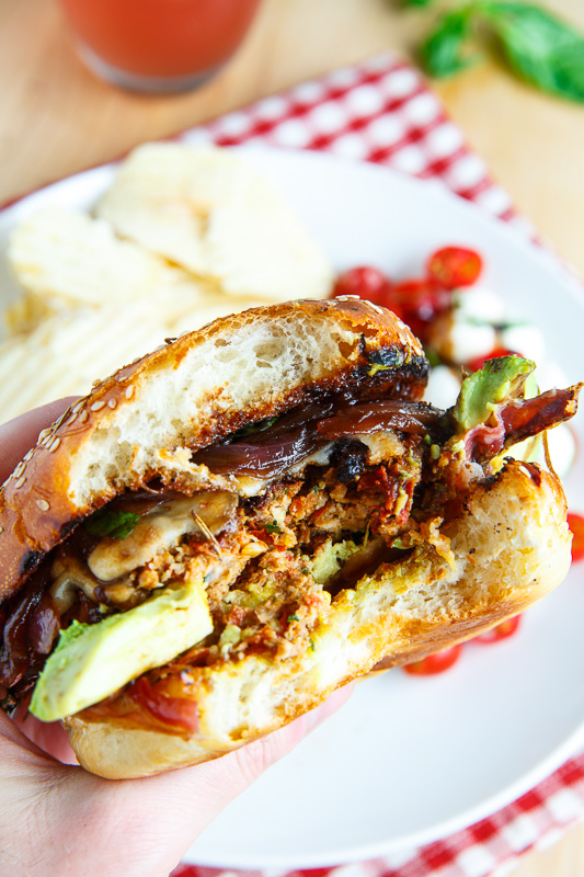 Sundried Tomato Caprese Turkey Burgers with Balsamic Caramelized Onions