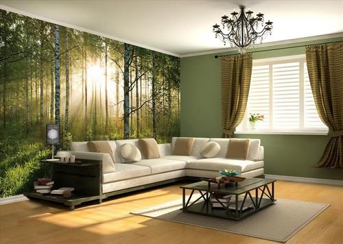 metsä tapetti koivumetsän taustakuva elävä puunrungot aurinkoinen luonto 3d kuva taustakuvaksi Valokuvatapetti