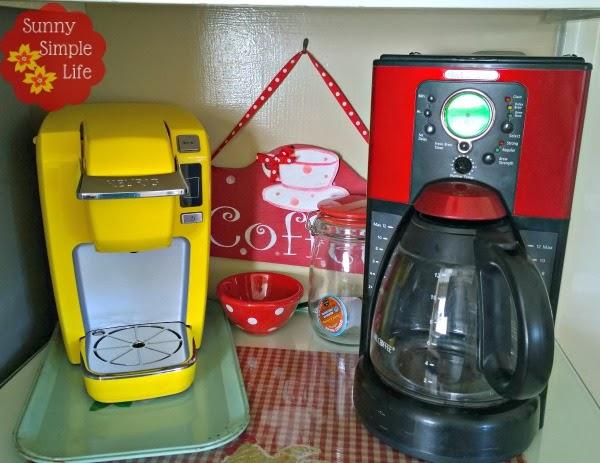 yellow keurig, red coffee maker, vintage kitchen