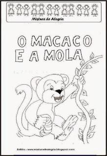 Livro macaco e a mola para colorir