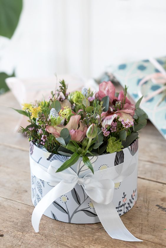 flower arrangements in a box by Søstrene Grene