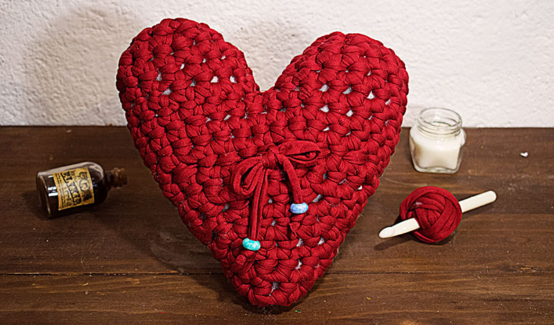 corazón trapillo tejido a crochet