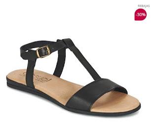 sandalias negras de piel casual