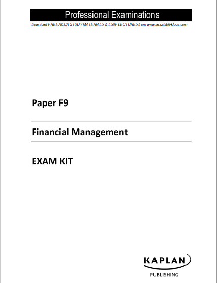 ACCA F9 Kaplan Exam Kit 2017 | FREE ACCOUNTING B00KS