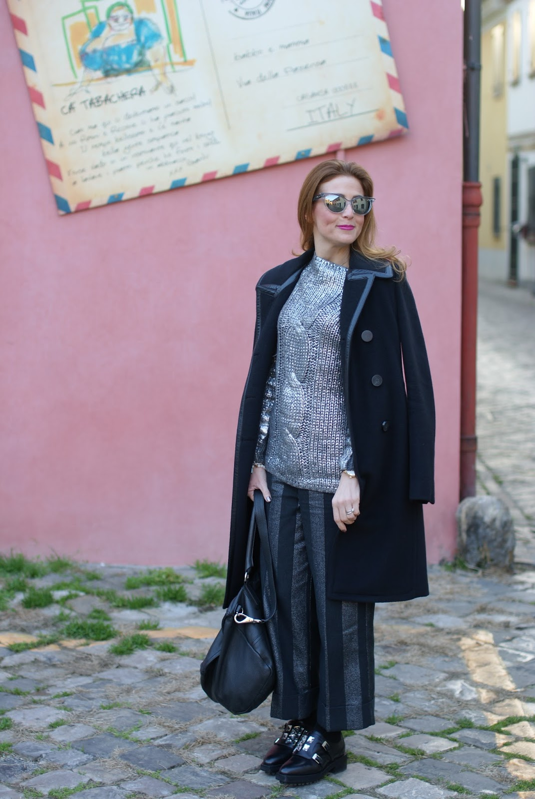 Balenciaga black coat with leather trim on Fashion and Cookies fashion blog, fashion blogger style