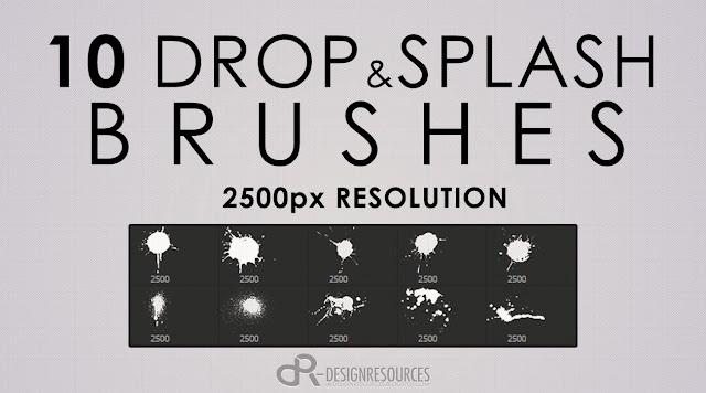 10 Hi-Res Drops and Splashes Photoshop Brushes