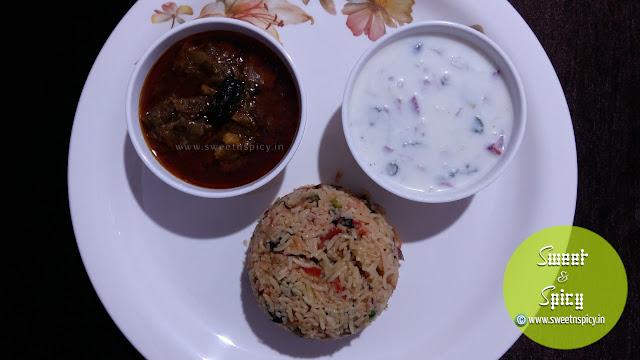 Mutton Curry Mushroom Biryani Onion Raita