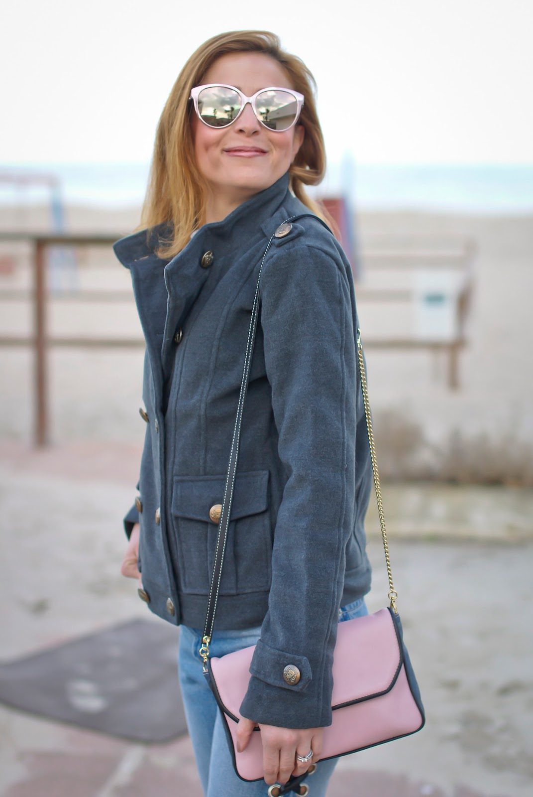 rose gold lipstick and Dresslink grey military jacket on Fashion and Cookies fashion blog, fashion blogger style