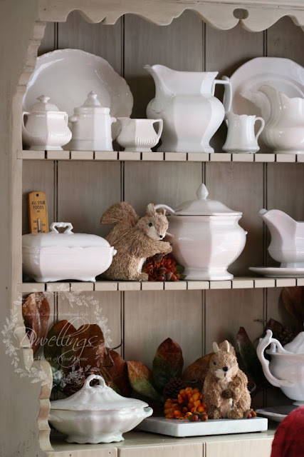 Fall cupboard in the keeping room ... Fall Home Tour 2015 ~ DWELLINGS - The Heart of Your Home
