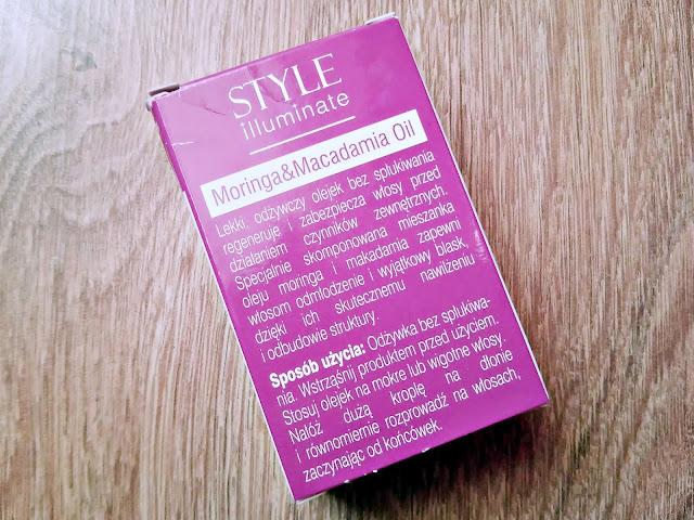 Farouk, CHI, Miss Universe Style Illuminate - Serum odmładzające do włosów z olejem moringa i macadamia, opis opakowania
