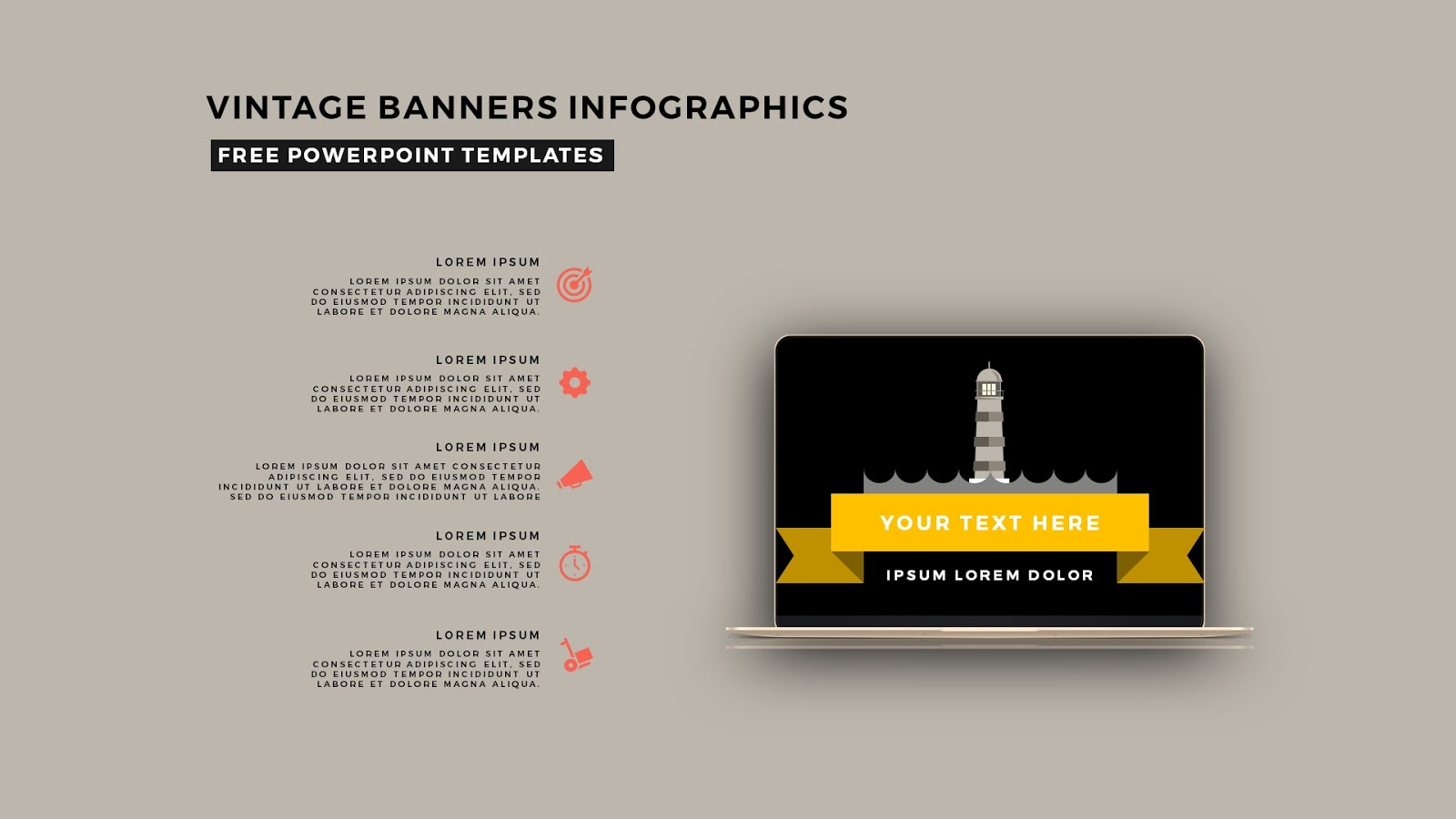 vintage banners infographic free powerpoint template