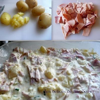 préparation de la recette pommes de terre au jambon et à la crème