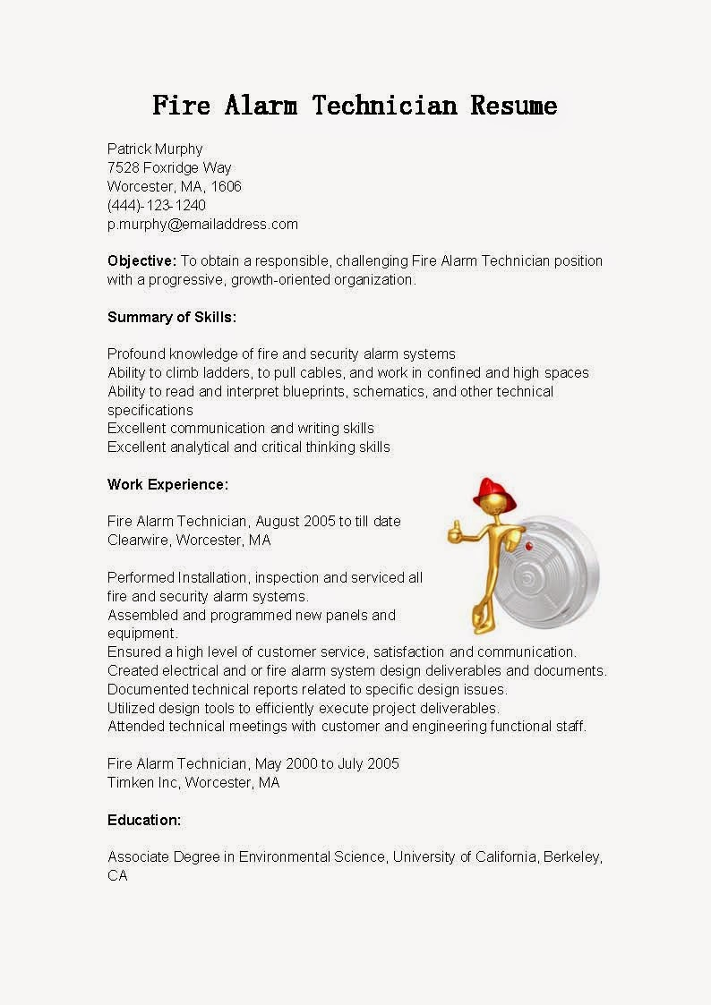 resume samples  fire alarm technician resume sample
