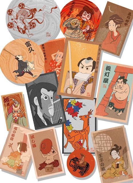 メンコ、遊び、落語、歌舞伎、和、子供、駄菓子、江戸、東京、下町、浮世絵、挿絵、絵葉書、パンフレット、物販、案内、浅草、イラスト、絵、資料イラストレーター検索、イラストレーター一覧、イラスト制作、和風イラスト