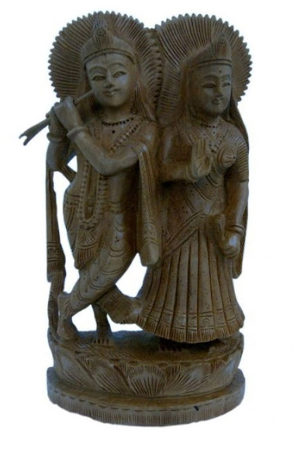 Ethnic Lord Radha Krishan Idol Wood Handicraft Sunshine