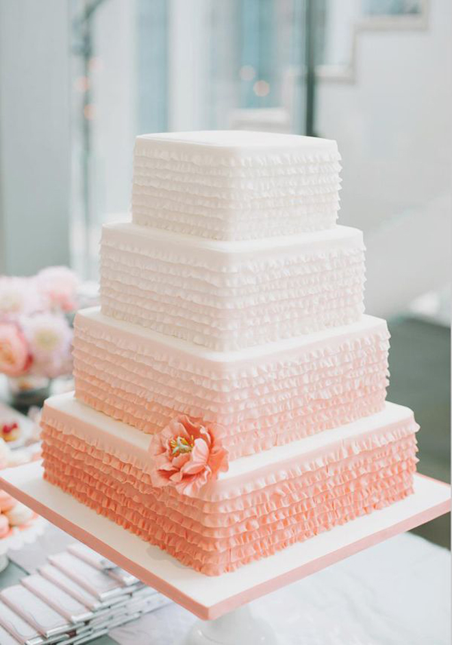 12 Fabulous Ombre Wedding Cakes   Belle The Magazine  Below image credits  Photographer  Anna Kim    Cakes Design  Hawaiian  Cakesations    via Pacific Weddings