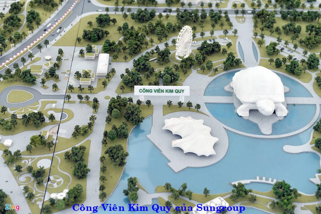 Phối cảnh công viên Kim Quy đang triển khai xây dựng của Sun Group