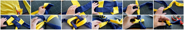 Step-by-step weaving a spiral fleece DIY dog toy