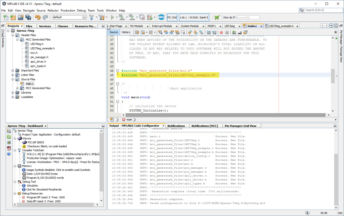 eProjects: MPLAB Code Configuration and Microchip Xpress board