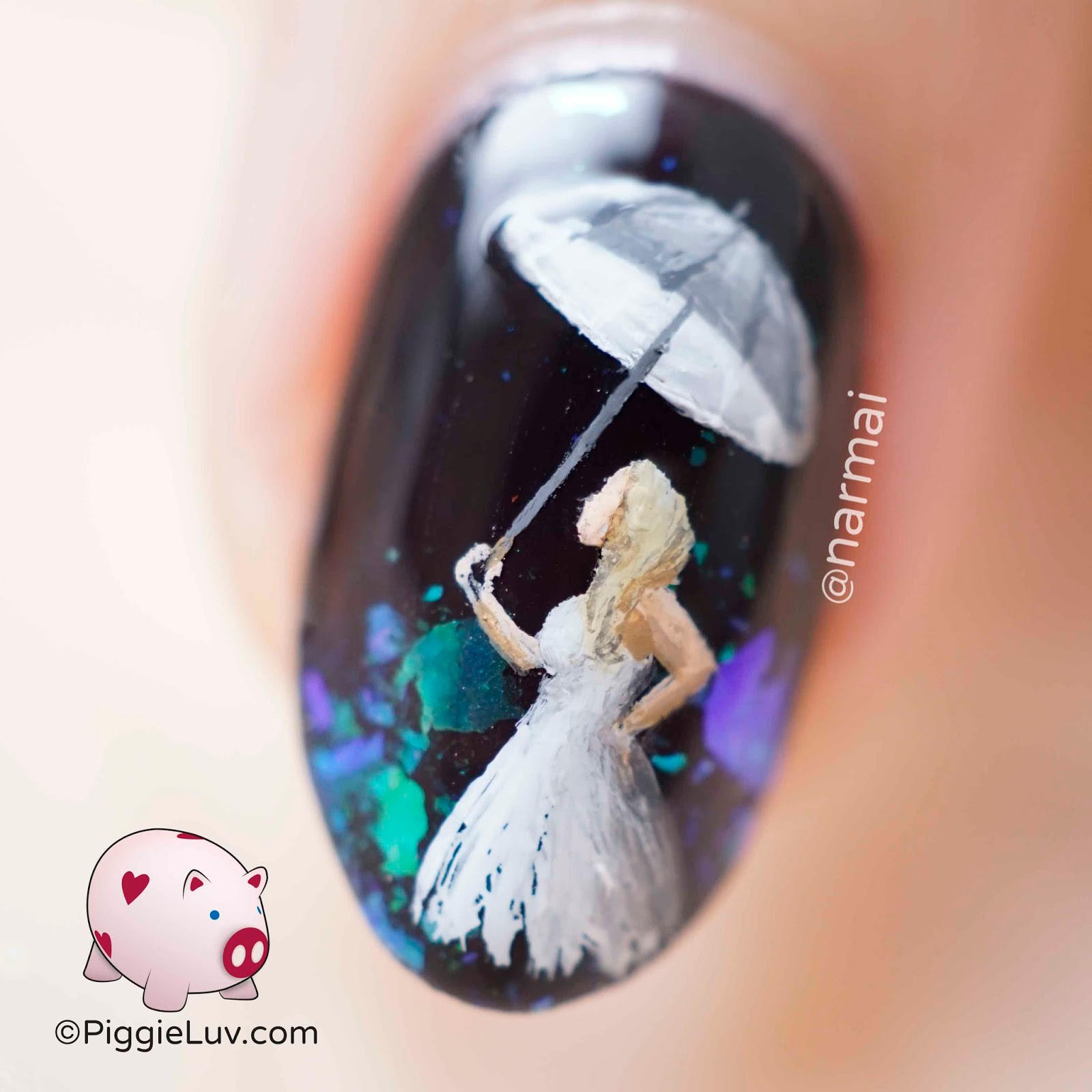 PiggieLuv: Umbrella girl nail art