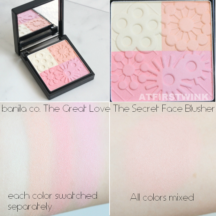 banila co. The Great Love The Secret Face Blusher swatches