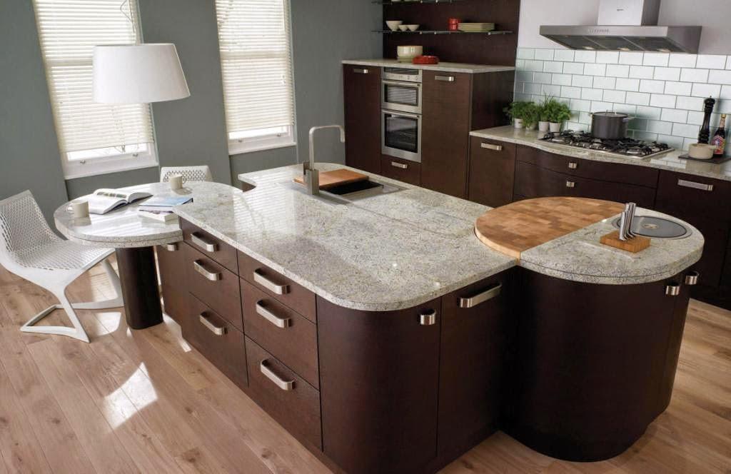 30 modelos de mesas y barras para cocinas de todos los for Mesa esquinera redonda