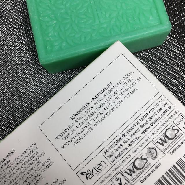 Thalia Aloe Vera Serisi Onarıcı ve Nemlendirici Doğal Sabun içerik