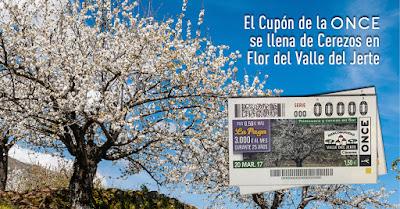 El cupón de la ONCE recibe la primavera con los cerezos en flor del Valle del Jerte
