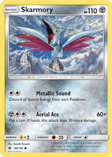 Skarmory Sun and Moon Pokemon Card